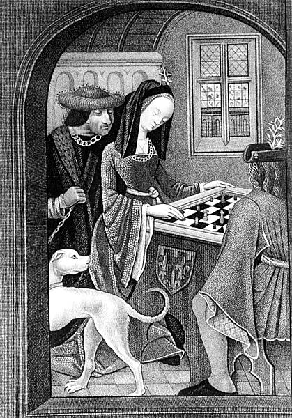 XJF152750 Playing Chess, engraved by T. Fry (engraving) (b/w photo) by English School, (16th century) (after); Private Collection; (add.info.: fleur de lys coat of arms;); English, out of copyright